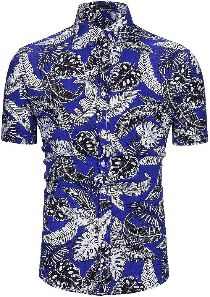 YEBIRAL Polos Manga Corta Camisa Hawaiana Hombre Estampado de Hojas con Botones Blusa Camisetas Formales Tops(XS, Púrpura): Amazon.es: Ropa y accesorios