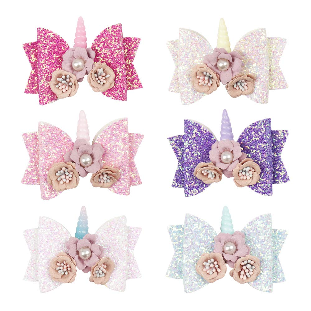6 pcs Glitter Hair Bows Boutique Hair Clips 4inch Princess Hairgrips for Kids Sequins Hair Pin Accessories (6 Pcs Unicorn Bow Clip) by Oaoleer