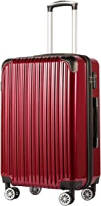 """Coolife Luggage Expandable(only 28"""") Suitcase PC+ABS Spinner 20in 24in 28in Carry on (wine wind new, L(28in))"""