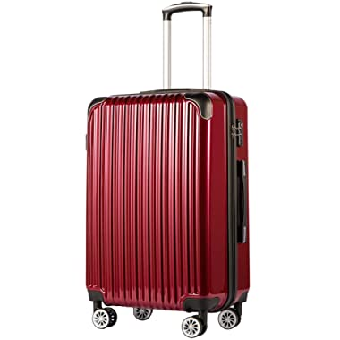 Coolife Luggage Expandable(only 28 ) Suitcase PC+ABS Spinner 20in 24in 28in Carry on (wine wind new, S(20in)_carry on)