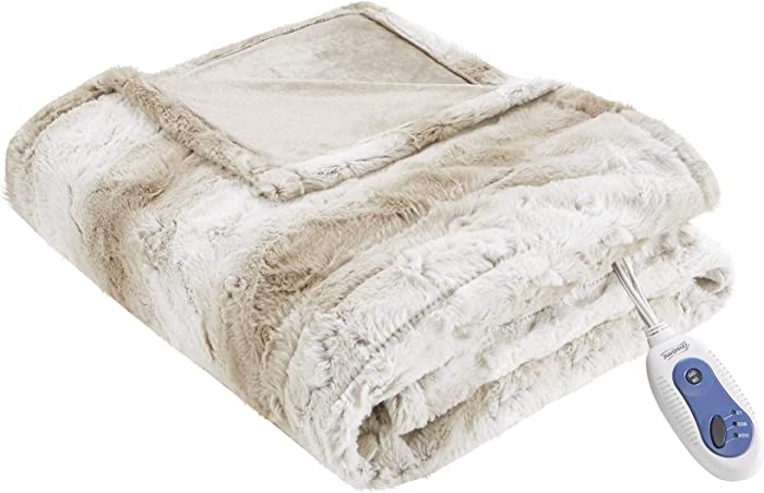 Beautyrest Zuri Ultra Soft Faux Fur Reverse to Mink Auto Shut Off Electric Blanket Throw Oversize with 3 Heat Level Setting Controller, 50x70, Sand Tip Dye