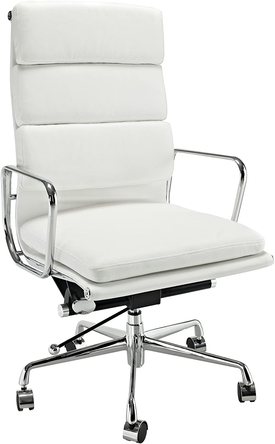 Modway Discovery High Back Leather Conference Office Chair in White Genuine Leather