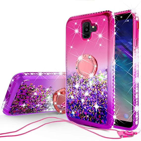 reputable site 1231d 4ef89 SOGA Rhinestone Liquid Quicksand Cover Cute Girl Phone Case Compatible for  Samsung Galaxy A6 2018 Case,with Embedded Metal Ring for Magnetic Car ...