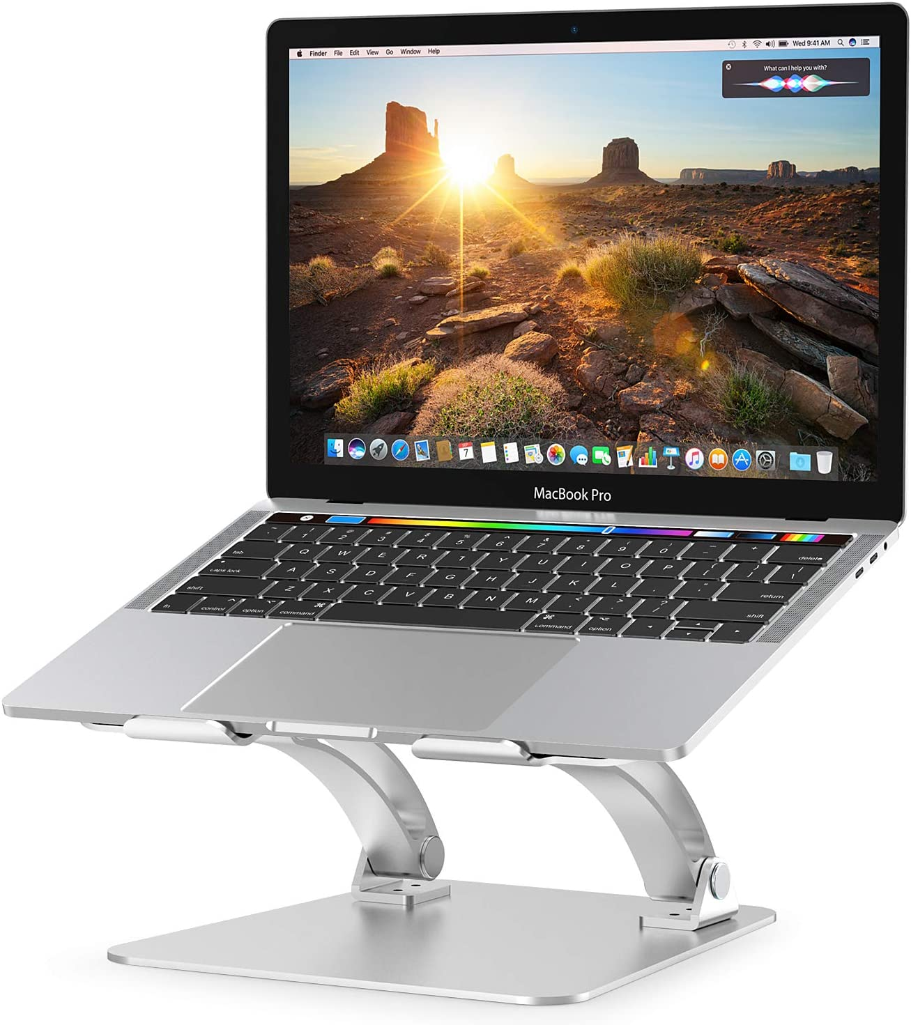 Floor-Standing 10~15.6inch Laptop Stand,Adjustable Height and Angle//Reduce Shoulder and Neck Soreness,Lightweight Easy to Setup for Office and Home Working Silver