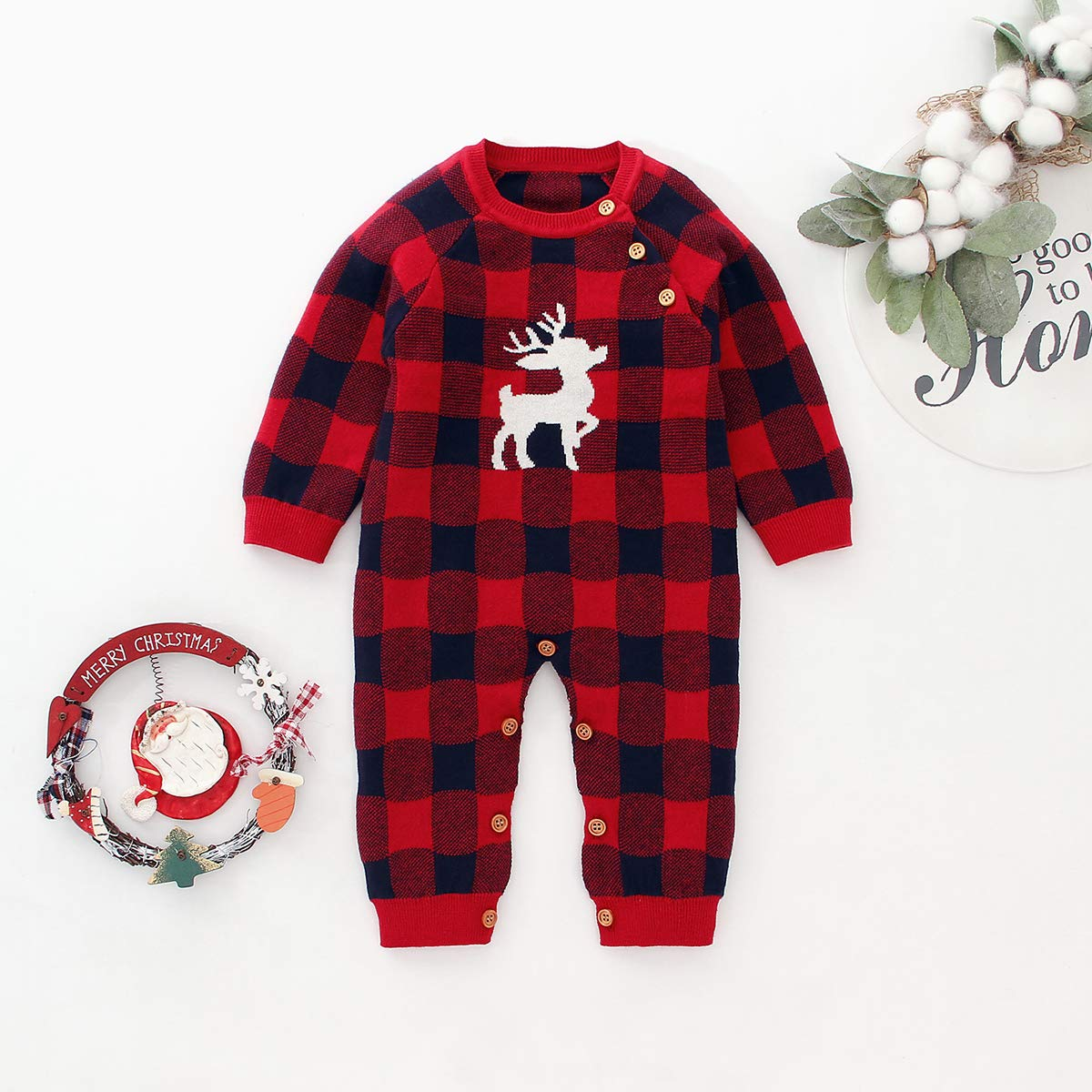 Tianhaik Infant Baby Boy Girl Xmas Plaid Romper Long Sleeve Jumpsuit Elk Pattern Bodysuit