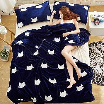 Patrón Azul Inferior de Gato Manta de Invierno Colcha Engrosamiento Dormitorio Sábanas de Estudiantes Franela Siesta Rollsnownow (Tamaño : 150 * 200cm): ...