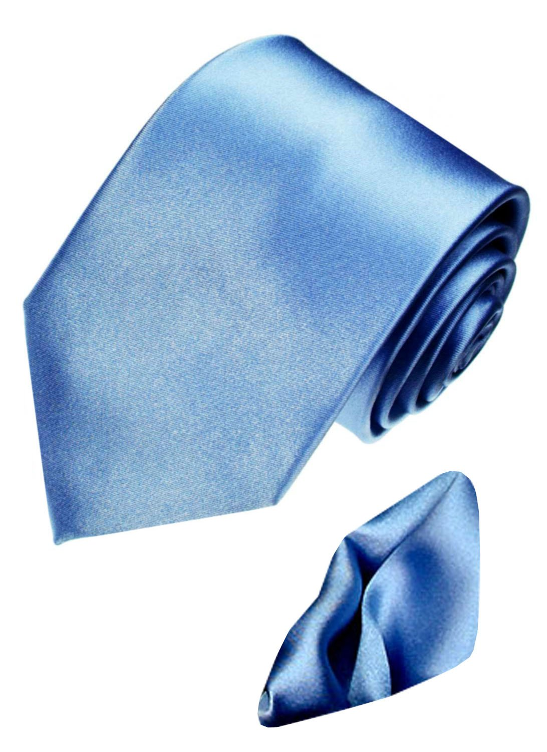 LORENZO CANA Italian Silk Business Tie Hanky Set Blue Plain Necktie 8442401 by LORENZO CANA