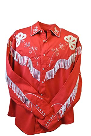 aa03cf8d84e Rockmount Men's Vintage Western Embroidered Fringe Snap Shirt at Amazon Men's  Clothing store: