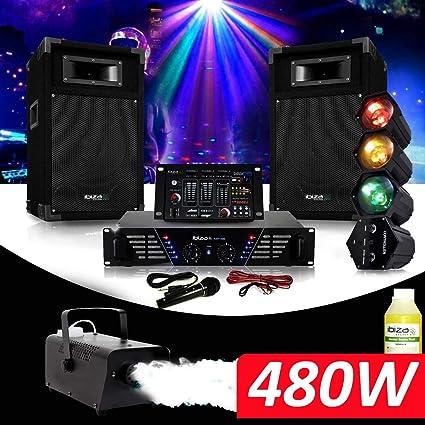 Pack dj-300 Kit de megafonía Disco 480 W + juego de luz chenillard ...