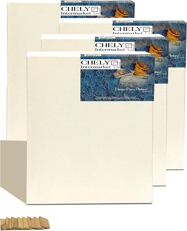 Chely Intermarket, lienzos para pintar 30x60 cm Juego de 4 Lienzos pre-estirados/Perfil 16 mm/280 grs/Apto para Óleo y acrílico/100% Algodón/Color Blanco/Triple Preparado(560-30x60*4-0,40)