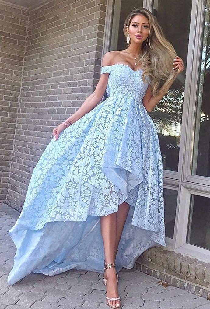 3a282b326a6 Dressylady Off The Shoulder A Line High Low Prom Homecoming Dress Lace  Bridesmaid Dress at Amazon Women s Clothing store
