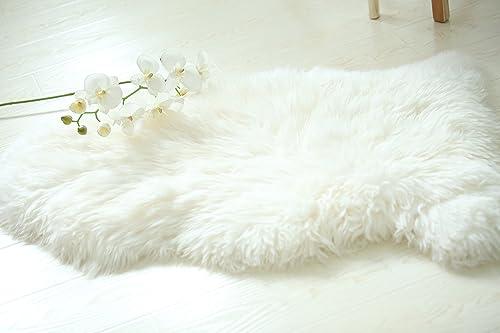 BuggCat Genuine Australian Natural Sheepskin Rug One Pelt Natural Fur Ivory 2ft x 3ft