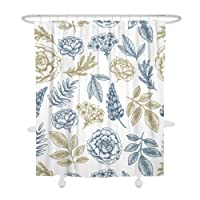 Shower Curtain Waterproof Mildew Resistant, Shower Curtain 60×72 inches 150×180cm, Flower Painting Printed Bath Curtains