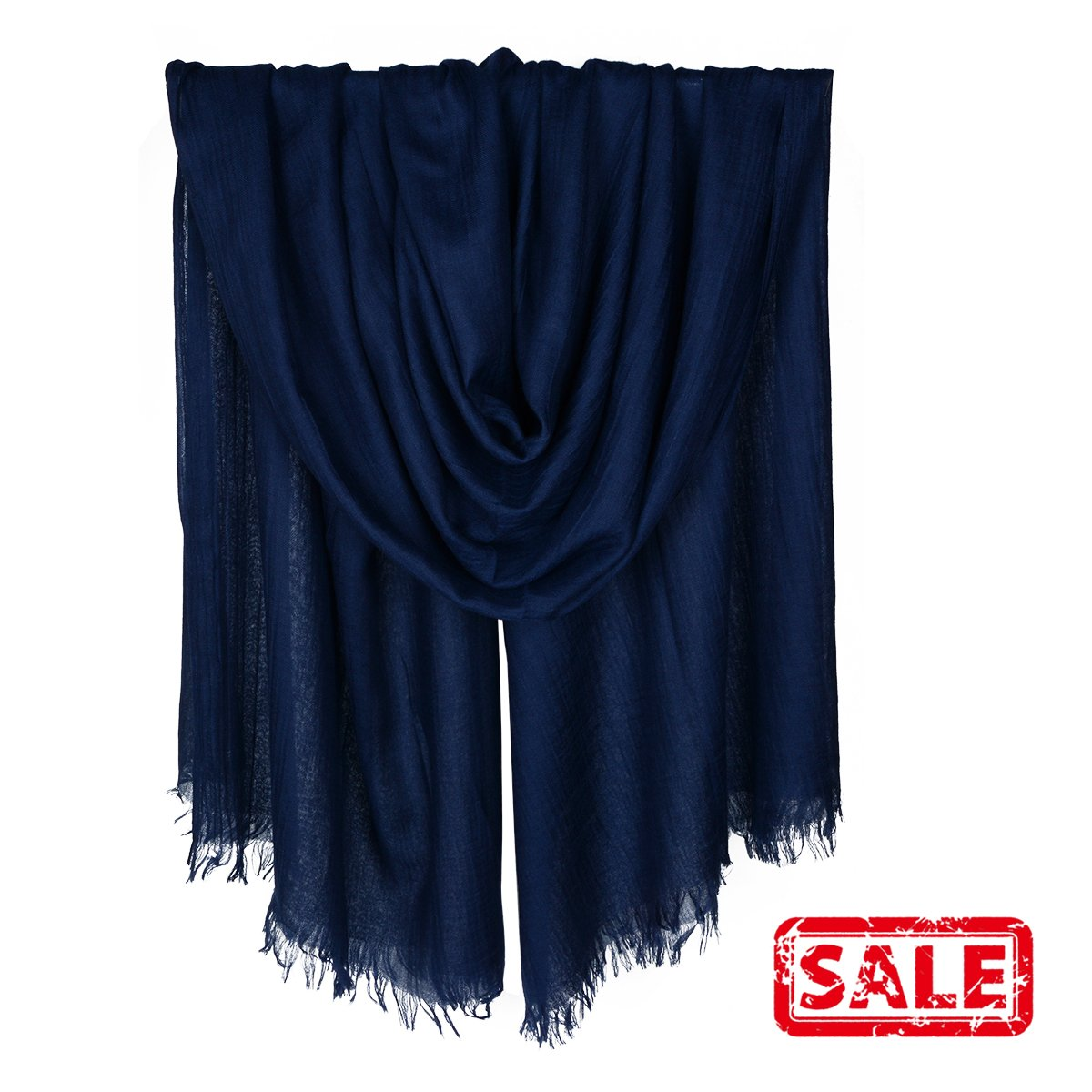 Iristide Womens Long Scarf in Solid Color, Light Weight Large Shawls Wrap for Beach Outdoor Camping Traveling Sunscreen Neckwear 75×43 inch (Navy)