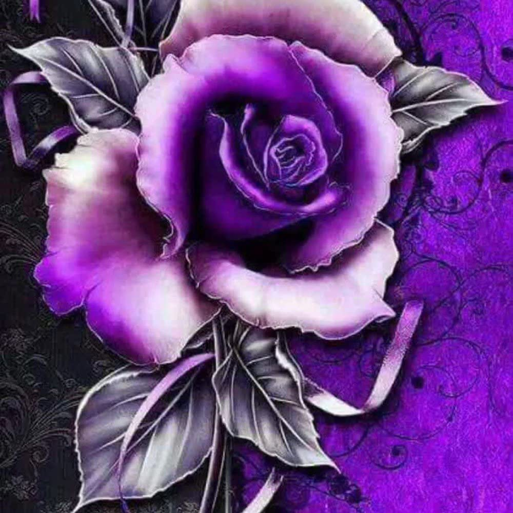 Hazlo tú mismo 5D Diamante Flores de color púrpura Pintura Bordado Cross Stitch Kit De Arte Decoración