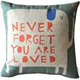 Elviros Linen Cotton Blend Decorative Cushion Cover Throw Pillow Case 18x18 inch - Quote Never Forget You Are Loved