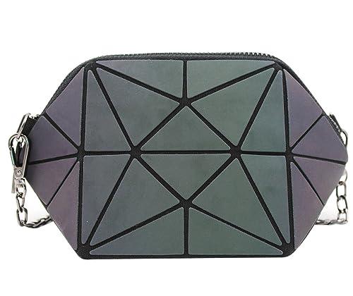 1e110ed13 Amazon.com: Women Luminous Geometry Crossbody Shoulder Bag Lattice Chain Bag  Wristlet Clutch Purse: Shoes