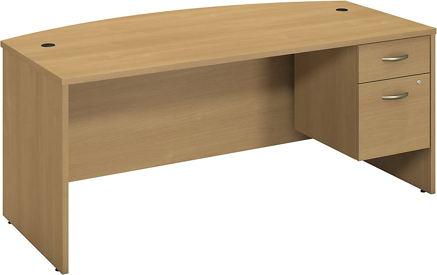Bush Business Furniture Series C 72W X 36D Bowfront Desk with 3/4 Pedestal in Light Oak