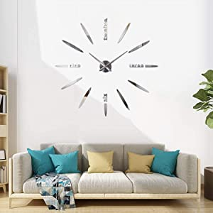 HOODDEAL 3D Frameless Mirrors Wall Clock DIY Self-Adhesive Large Silent Number Clock Wall Stickers Acrylic Art Decals Room Decor Home Office Living-Room Bedroom Kitchen Decoration (Silver)