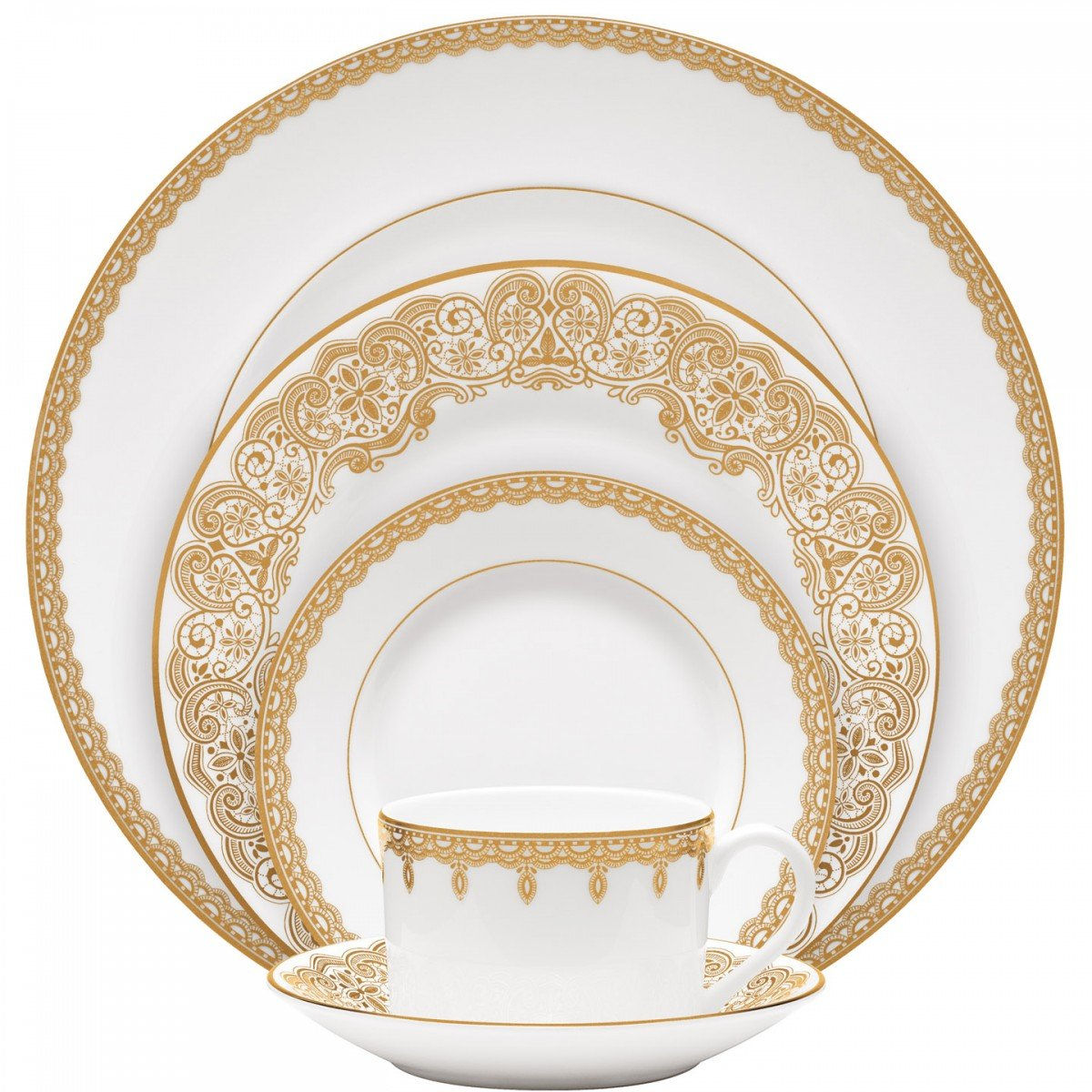 Amazon.com | LISMORE GOLD 5 PIECE PLACE SETTING: Dinnerware Sets ...