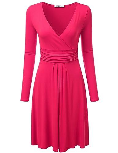 NINEXIS Women's Ruched Waist Surplice Dress S-3XL (12 Colors)
