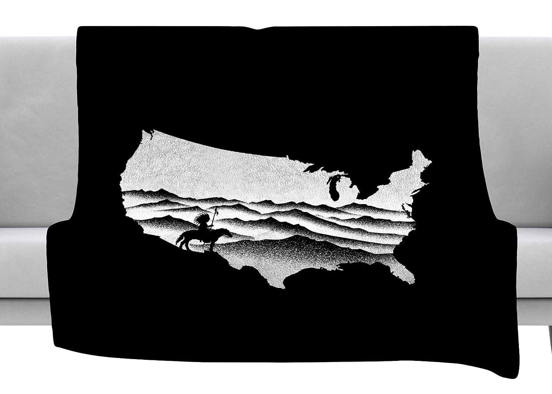 Kess InHouse BarmalisiRTB Native American Black White Digital Throw 80 x 60 Fleece Blanket