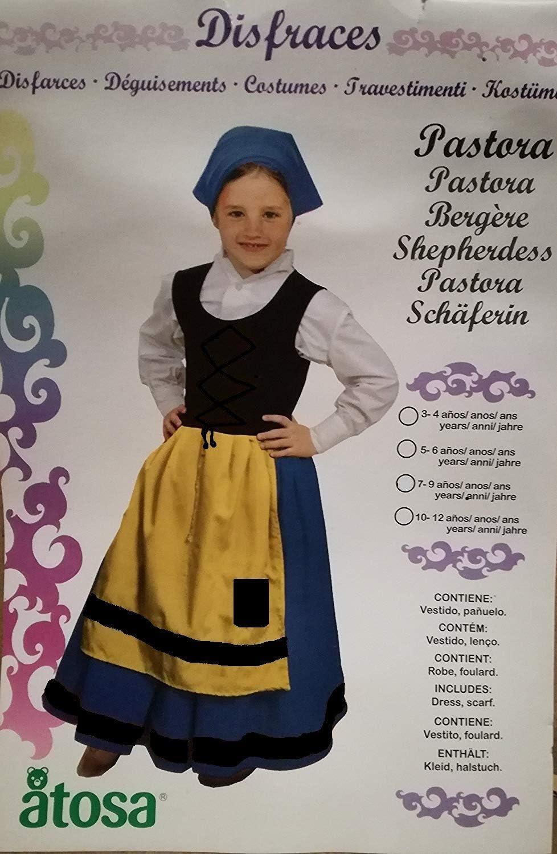Disfraz DE PASTORA Infantil Talla 7-9 AÑOS , Vestido Y PAÑUELO ...
