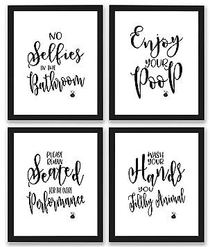amazon bathroom quotes and sayings art prints set of four photos