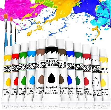 Buluri Kit Di 12 Colori Acrilici Colori Acrilici Per Dipingere Da 12 Ml Colori Acrilici Set Pittura Per Bambini Miscelabili Per Arte E Fai Da Te Su Vetro Legno Ceramica Tessuti Carta E Tela