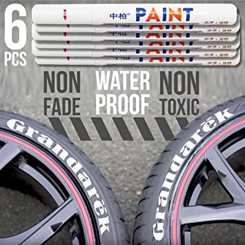 Rotulador de pintura para llantas de coche, color blanco, juego de 6 rotuladores permanentes
