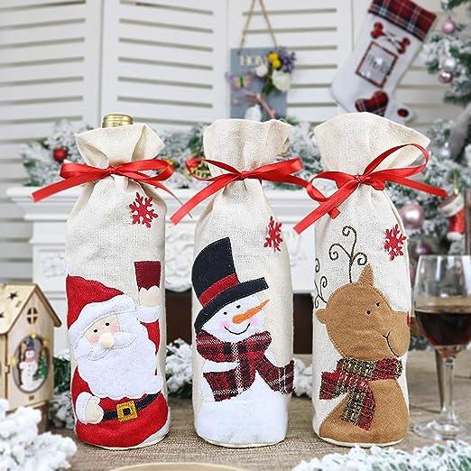 JOSE9A Navidad Botella de Vino Bolsas,Decoracion Mesa Vino Regalo ...