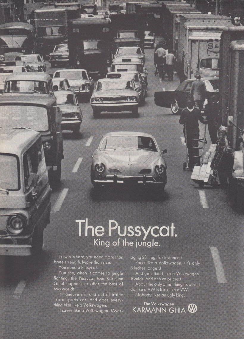 The Pussycat - King of the jungle Volkswagen Karmann Ghia ad 1966 NY at  Amazon's Entertainment Collectibles Store