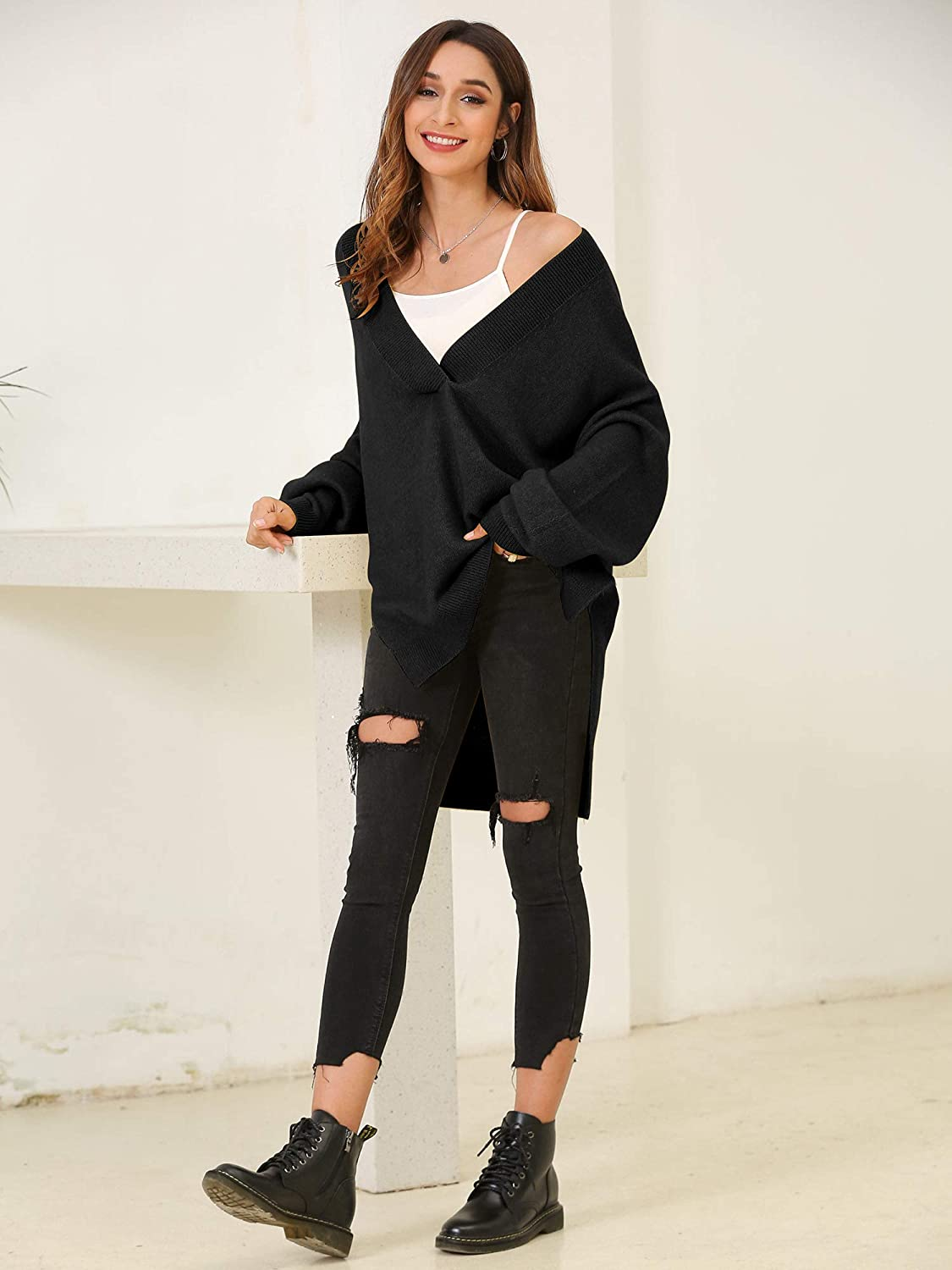 Oversized Sweaters for Women V Neck Slouchy Loose Fall Sweater Casual Asymmetric Long Baggy Pullover for Women Girl