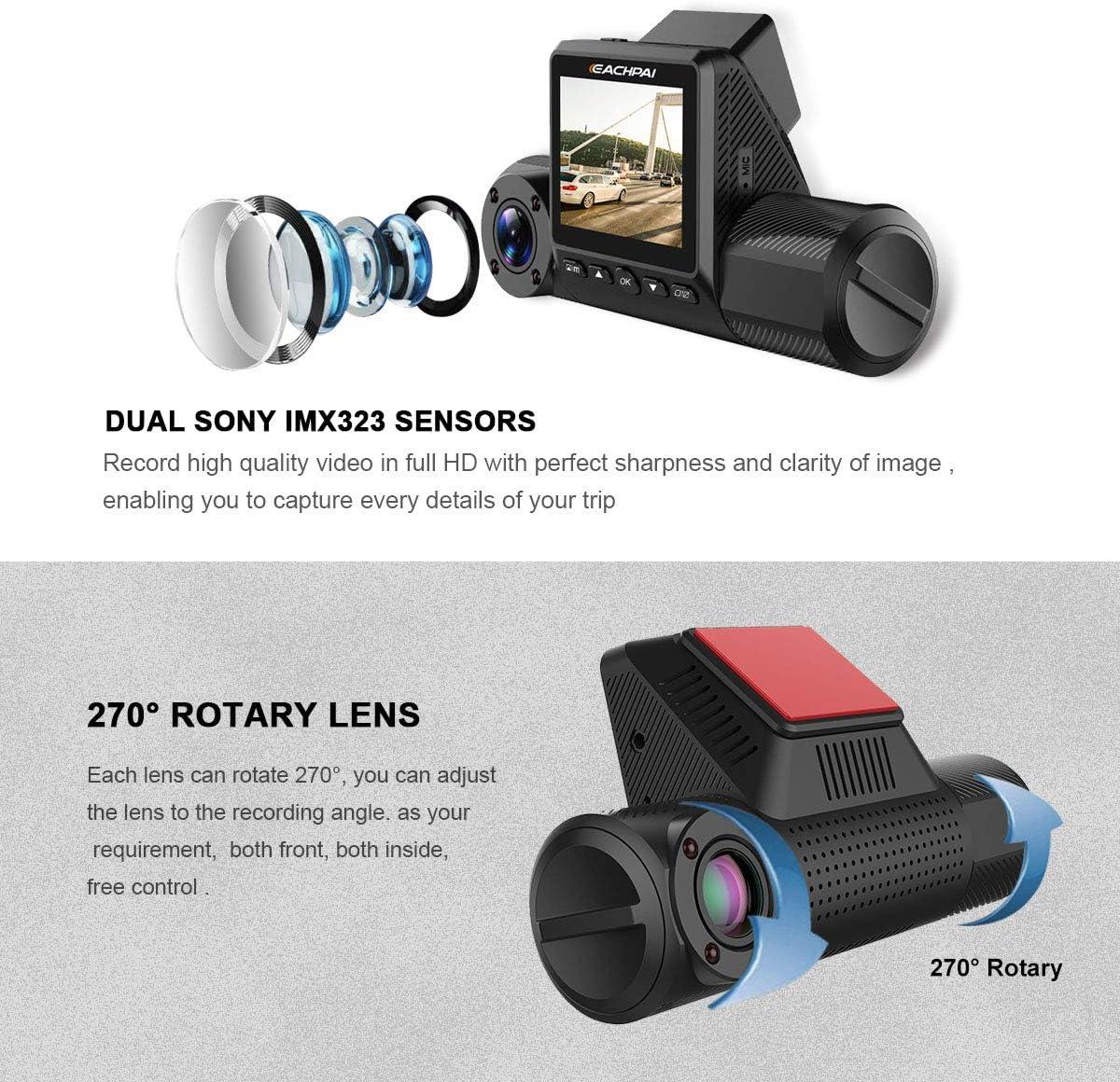 Cam/éra de voiture Eachpai X200 Dash Cam FHD 1080p /écran 2.0 Dascam avec rotation 270 /° moniteur de stationnement d/étection de mouvement vision nocturne infrarouge super condensateur