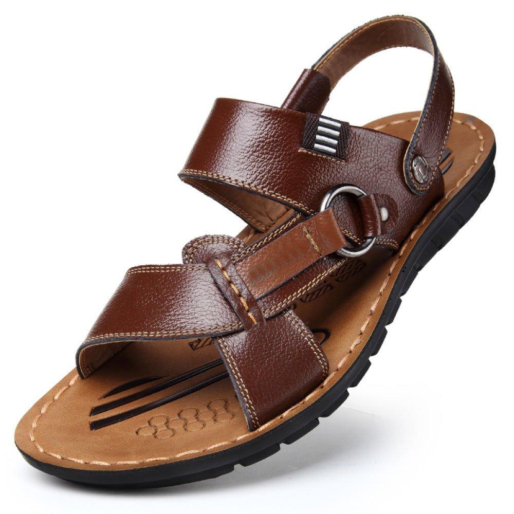 Herren Sandalen Leder Verstellbare Outdoor-Sportschuhe Bequeme Spitze Rutschfeste Sandalen Sommer Offene Spitze Bequeme Braun 99cab0