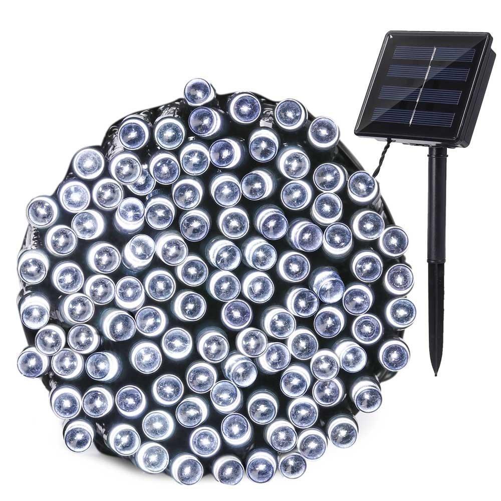 Qedertek Luci Natalizie Solare da Esterno 22M 200 LED Luci di Natale Addobbi Natalizi Catene Luminose Luci Stringa Solare Decorazione per Albero di Natale Giardino Patio(Bianca)