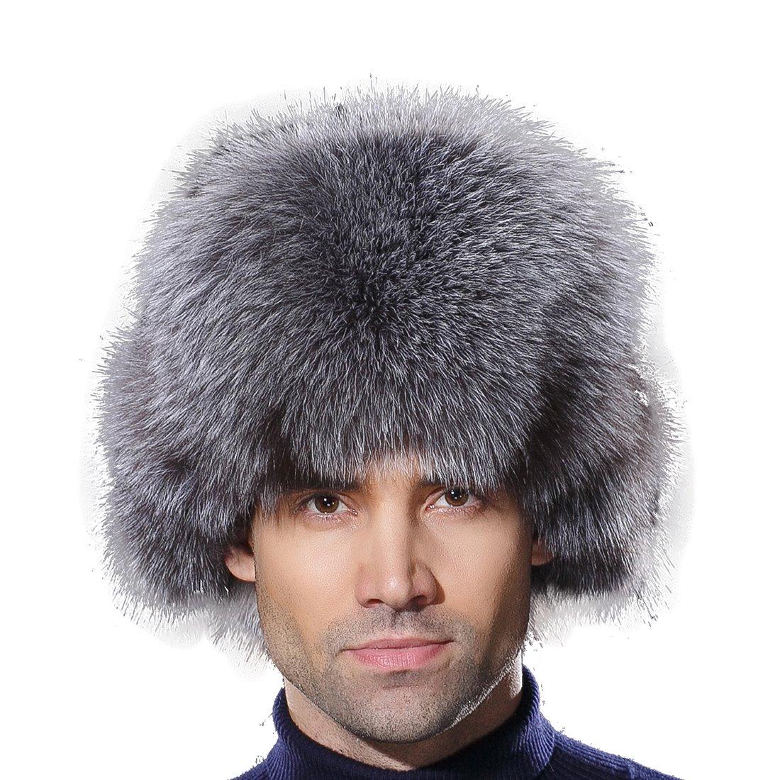 URSFUR Winter Russian Fur Hat Mens Real Silver Blue Fox Fur Ushanka Trapper Cap by URSFUR