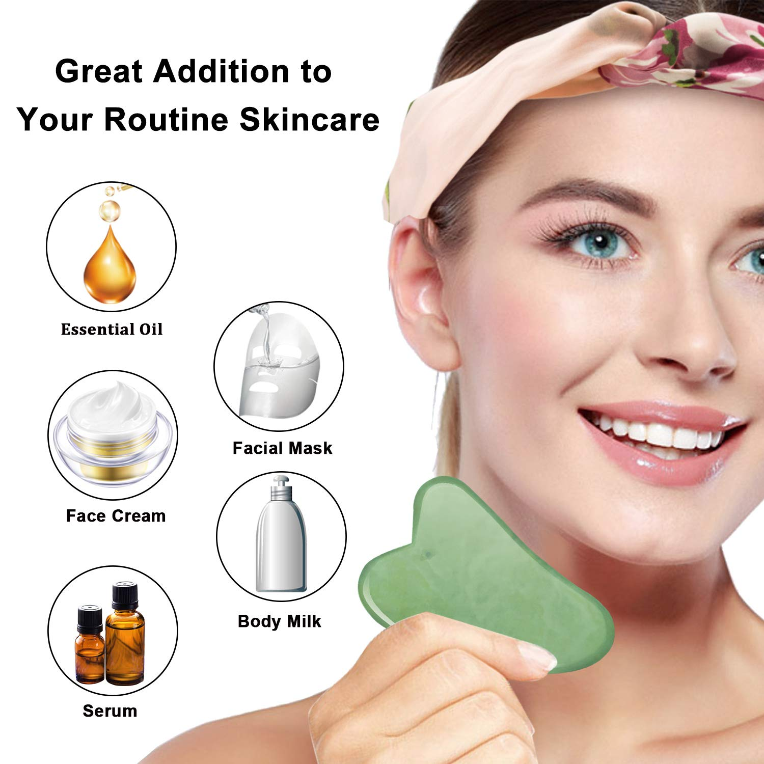 Jade Roller for Face & Natural Rose Quartz Roller & Gua Sha Scraping Tool, 3 in 1 Anti-Aging Jade Face Roller Massager for Cheeks Slimmer, Skin Tightening, Rejuvenate Skin