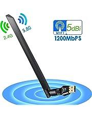USB Wifi Adapter, VIPFAN Wireless Wifi Dongle Dual Band 1200Mbps Network Adapter 5dBi Antenna PC/Desktop pc/Laptop/Table Supports Windows 10/8/7/Vista/XP/2000, Mac OS X 10.4-10.12