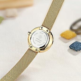 Amazon.com: WWOOR Womens Mesh Band Steel Bracelet Ladies Elite Sports Wrist Watch Gold: Watches