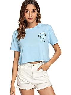 b859caaac3f SweatyRocks Women s Cactus Print Crop Top Summer Short Sleeve Graphic  T-Shirts
