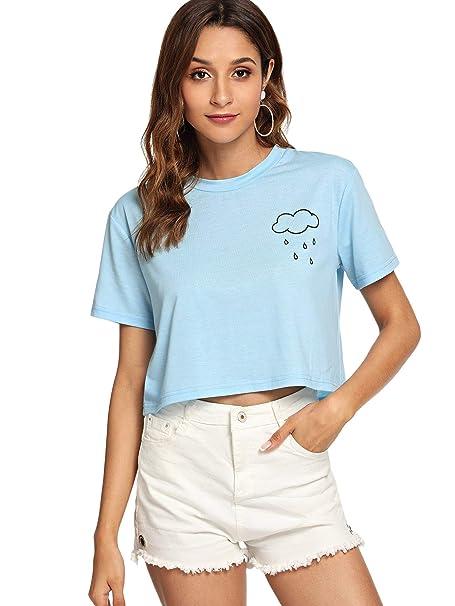 22ce525d761093 SweatyRocks Women s Cactus Print Crop Top Summer Short Sleeve Graphic T- Shirts Light blue X