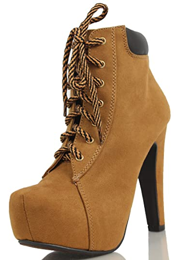 Women's Royalty Faux Suede Hidden Platform Lace Up Faux Leather Cuff High Heel Ankle Boot