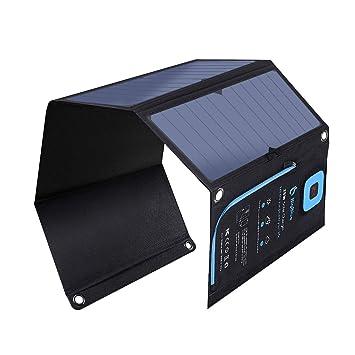 28W Cargador Solar Portátil, BigBlue 2 Puertos USB y 4 Paneles Solares Impermeables con LCD Amperímetro Digital y Cremallera de Protección para ...