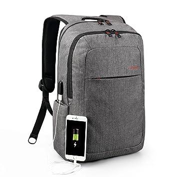 Tigernu delgado Peso ligero portátil mochila para mujeres y hombres, negocio y escuela mochila con puerto ...