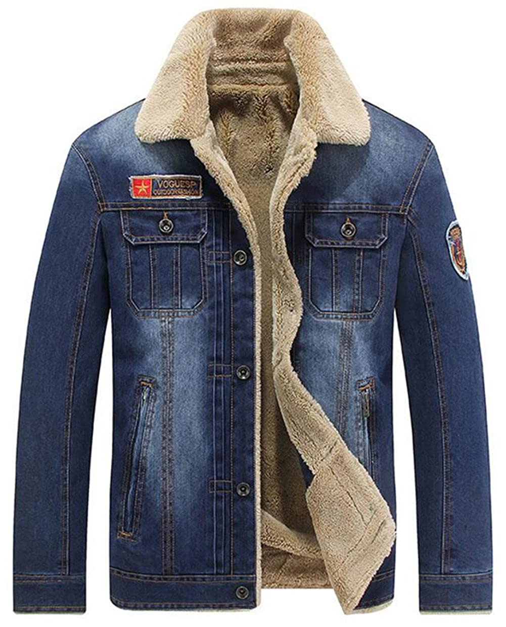 JEWOSOR Men's Winter Thick Denim Jacket Cashmere Lining Warm Jacket