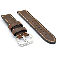22mm 24mm Dark Brown Italy Calf Leather Handmade Watch Band Strap for Regular Wrist Watch-LG Urbane