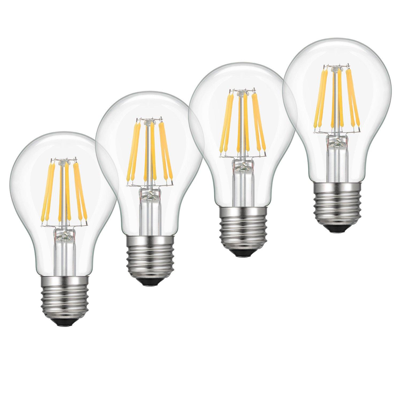 Dimmable Edison LED Bulb, Soft Warm White 2700K, Kohree 6W Vintage LED Filament Light Bulb, 60W Incandescent Equivalent, A19 E26 Medium Base Lamp for Restaurant,Home,Reading Room, 4-Pack(NOT Daylight)