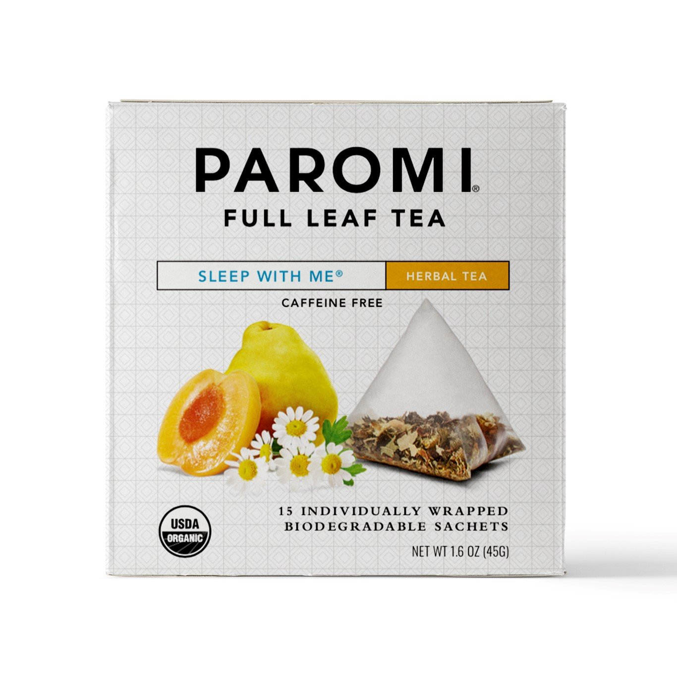 Paromi Tea Organic Sleep with Me Caffeine-Free Herbal Tea, 15 Pyramid Tea Bags (Pack of 6) Non-GMO