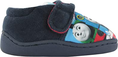 BOYS BLUE OFFICIAL THOMAS THE TANK ENGINE TOUCH FASTEN SLIP ON SLIPPERS UK SIZE